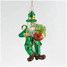 Irish Christmas - Glass Irish Santa Ornament