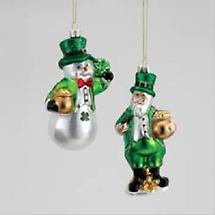 Irish Christmas - Snowman & Santa Glass Ornaments - Set of 2