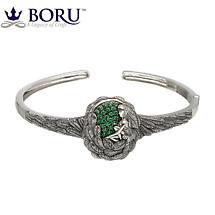 Irish Bracelet - Danu Bangle with Green CZ