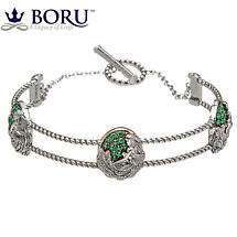 Irish Bracelet - Danu Wire Bangle with Green CZ
