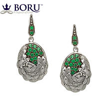 Irish Earrings - Danu Earrings with Green CZ