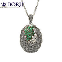Irish Necklace - Danu Pendant with Green CZ