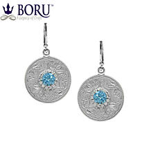 Celtic Earrings - Celtic Warrior Earrings with Swiss Blue & Clear CZ