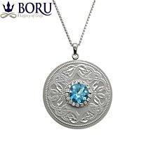 Celtic Necklace - Celtic Warrior Large Pendant with Swiss Blue & Clear CZ