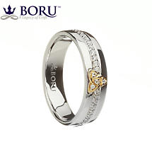 Irish Ring - 10k Trinity Knot CZ Wide Band Irish Wedding Ring