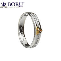Irish Ring - 10k Trinity Knot CZ Narrow Band Irish Wedding Ring