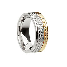 Celtic Ring - 10k Yellow Gold and Sterling Silver Comfort Fit 'Faith' Celtic Knot Irish Band