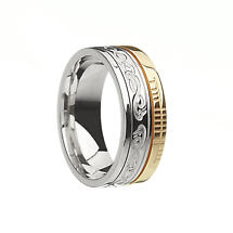 Irish Ring - 10k Yellow Gold and Sterling Silver Comfort Fit 'Faith' Le Cheile Design Celtic Band