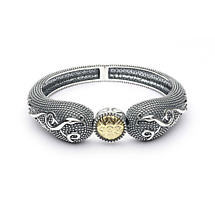 Celtic Bracelet - Antiqued Sterling Silver and 18k Gold Bead Celtic Irish Bracelet