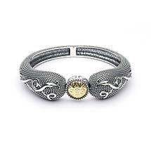Celtic Bracelet - Antiqued Sterling Silver and 18k Gold Bead Celtic Irish Bracelet