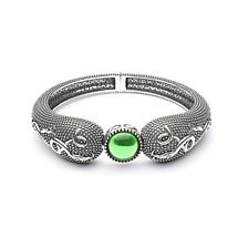 Celtic Bracelet - Antiqued Sterling Silver with Green Glass Stone Celtic Irish Bracelet