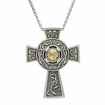 Celtic Cross Pendant  - Antiqued Sterling Silver with 18k Gold Bead Celtic Cross Necklace - Large