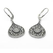 Celtic Earrings - Antiqued Sterling Silver Celtic Cross Teardrop Irish Earrings