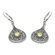 Celtic Earrings - Antiqued Sterling Silver with 18k Gold Bead Teardrop Irish Earrings
