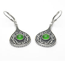 Celtic Earrings - Antiqued Sterling Silver with Green Glass Stone Teardrop Irish Earrings
