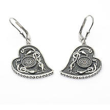 Celtic Earrings - Antiqued Sterling Silver Celtic Cross Heart Shaped Irish Earrings