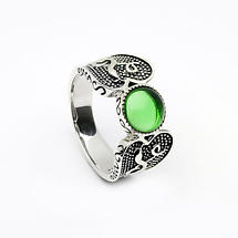 Celtic Ring - Antiqued Sterling Silver with Green Glass Stone Warrior Irish Ring
