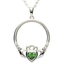 SALE - Irish Necklace - Sterling Silver Birthstone Claddagh Pendant