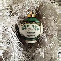 Irish Christmas Ornament - First Christmas Together with Shamrocks Ornament