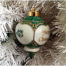 Irish Christmas Ornament - Merry Christmas with Shamrocks Ornament