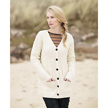 Irish Wool Sweater - Ladies Tree of Life Merino Wool Cardigan