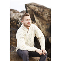 Irish Wool Sweater - Men's Merino Wool Shawl Collar Sweater