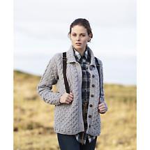 Irish Wool Sweater - Ladies Merino Wool Honeycomb Grey Aran Cardigan