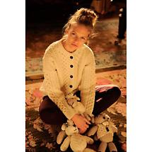 Wool Cardigan Sweater - Ladies Merino Wool Aran  Cardigan