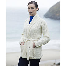 Irish Wool Sweater - Ladies Merino Wool Aran Belted Cardigan with Shawl Collar