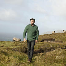 Irish Wool Sweater - Men's Merino Wool Traditional Aran Sweater