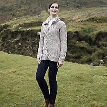 Irish Wool Sweater - Ladies Merino Wool Zipper Cardigan