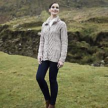 Irish Wool Sweater - Ladies Merino Wool Zipper Cardigan