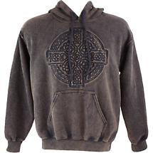 Irish Hooded Sweatshirt - Embossed Circle of Life - Brown