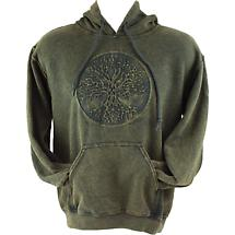 Irish Hooded Sweatshirt - Embossed Tree of Life - Green