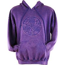 Irish Hooded Sweatshirt - Embossed Triskele - Purple