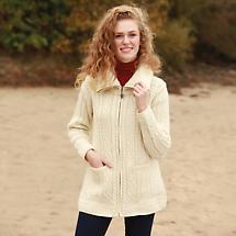Irish Wool Sweater - Ladies Zippered Sweater