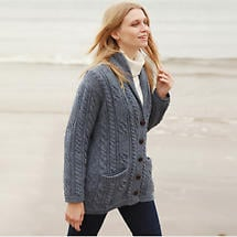 Irish Wool Sweater - Ladies Multi Cable Shawl Cardigan