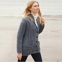 Irish Wool Sweater - Ladies Multi Cable Shawl Cardigan