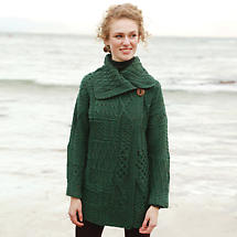 Irish Wool Sweater - Ladies Patchwork Coat - Green