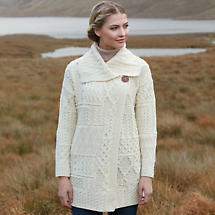 Irish Wool Sweater - Ladies Patchwork Coat  - White