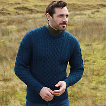 Irish Wool Sweater - Men's Merino Wool Traditional Aran Sweater  - Blue