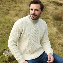 Irish Wool Sweater - Men's Merino Wool V-Neck Sweater