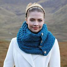 Merino Wool Snood Scarf with Buttons