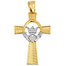 Claddagh Pendant - Two Tone Gold Irish Claddagh Cross