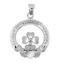 Claddagh Pendant - Sterling Silver Claddagh and Shamrock