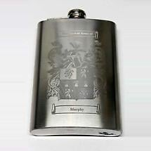 Coat of Arms Personalized 8oz Irish Hip Flask