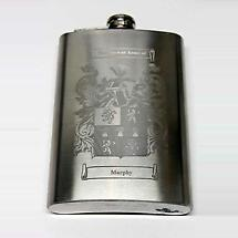Coat of Arms Personalized 8oz Irish Hip Premium Flask