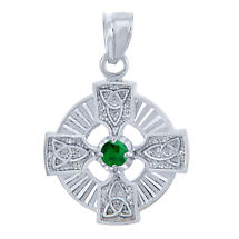 Celtic Pendant - Sterling Silver Celtic Trinity Pendant with Emerald CZ Stone