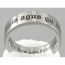 "Irish Rings - Stainless Steel ""Love Now and Forever"" Ring"