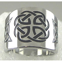 Celtic Ring - Stainless Steel Black Enamel Celtic Cigar Band Ring